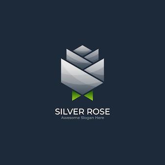 Иллюстрация логотипа абстрактной розы цветка геометрической формы в красочном стиле