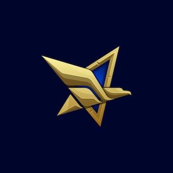 抽象的な星イーグルイラストベクトルテンプレート