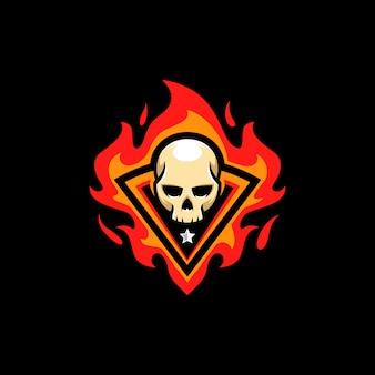 頭蓋骨の火イラストベクトルテンプレート