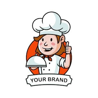 Мультфильм шеф-повар с логотипом