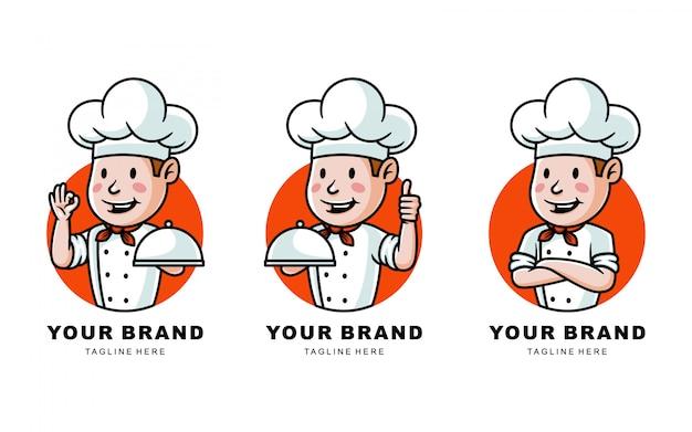 レストランの漫画シェフのロゴイラストのセット