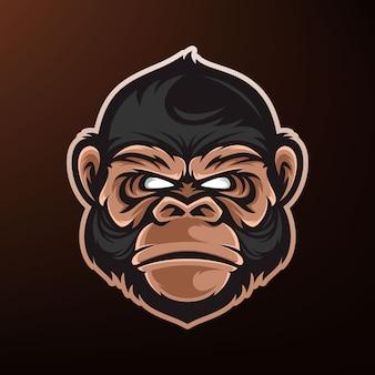 猿の頭のマスコットのロゴ