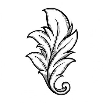 Растительный орнамент барокко для бордюра и угла.