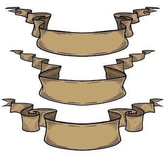空白のヴィンテージ手描きリボンベクトル。