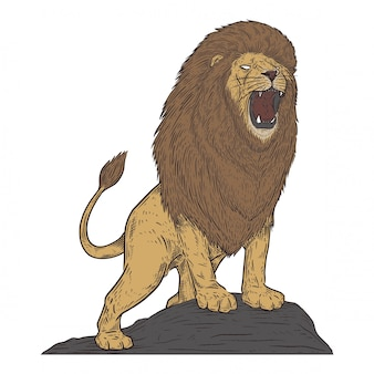 Лев в винтажном стиле рисования