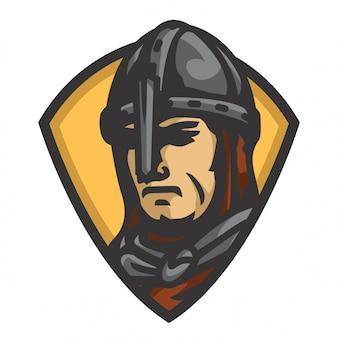 中世の騎士の頭のベクトル