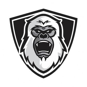 Голова белая горилла вектор