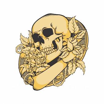 頭蓋骨とバラのベクトル