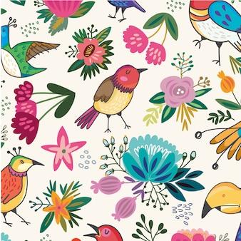 動物の花の葉のシームレスなパターン背景ベクトル
