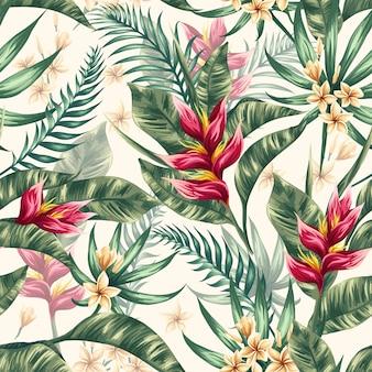 水彩花の葉のシームレスなパターン背景