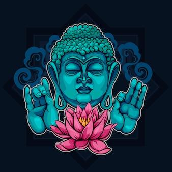 Показывает будду сутру и лотос