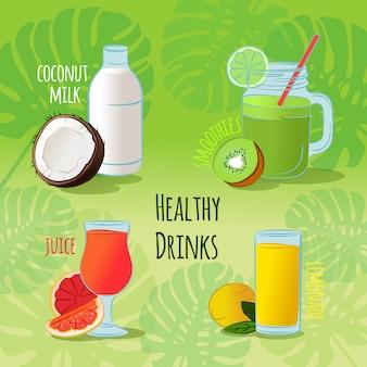 健康ドリンク。ココナッツミルク、グリーンスムージー、柑橘類ジュース
