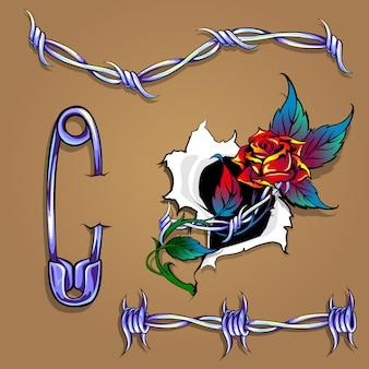 有刺鉄線とバラのセット