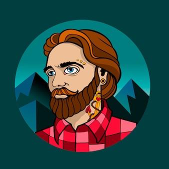格子縞のシャツの流行に敏感な男。背景の山々