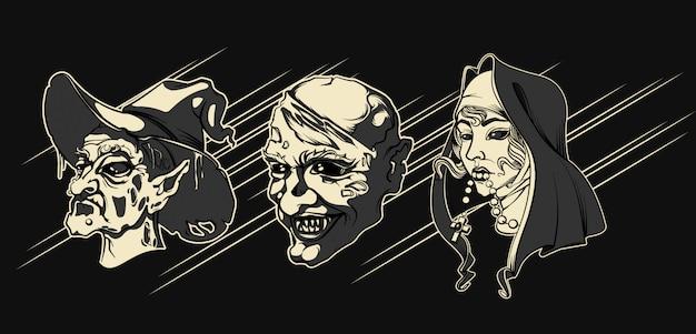暗闇の中でハロウィンのキャラクター