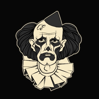Грустный клоун хэллоуин векторная иллюстрация