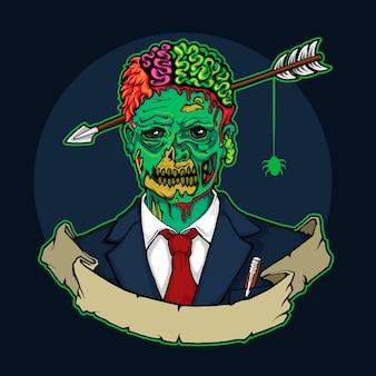 Зомби менеджер со стрелкой в голове