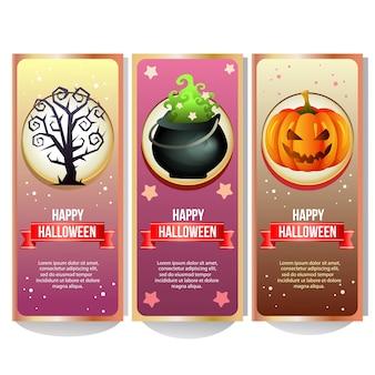 ハロウィーンの魔法のポットを持つハロウィーンのバナーコレクション