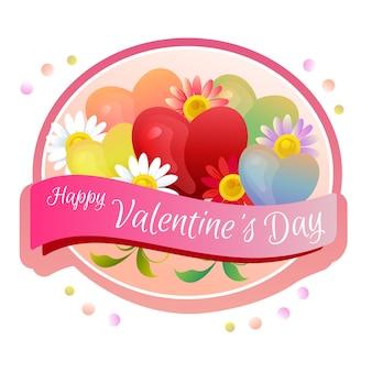 幸せなバレンタインデーラベルゼリーハート