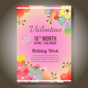 柔らかい花で華やかな赤いバレンタインパーティー