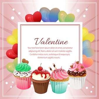 バレンタインの愛の形とカップケーキデコレーションスクエアテキスト