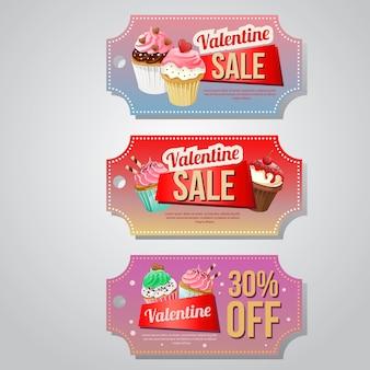 カップケーキ入りバレンタインセールクーポンテンプレート
