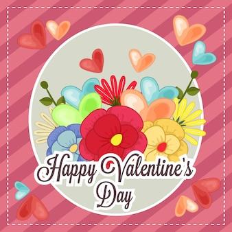花をテーマにしたテンプレートハッピーバレンタインカード