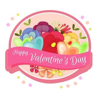 幸せなバレンタインデーラベルの花のテーマ