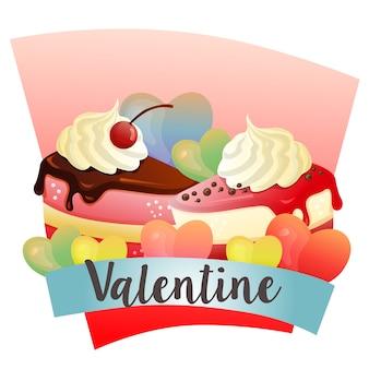 ケーキをテーマにしたスライスとバレンタイン
