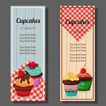 テーブルクロスとカップケーキ垂直バナー