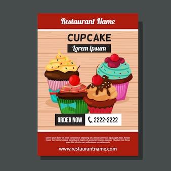かわいいカップケーキのパンフレットの型板