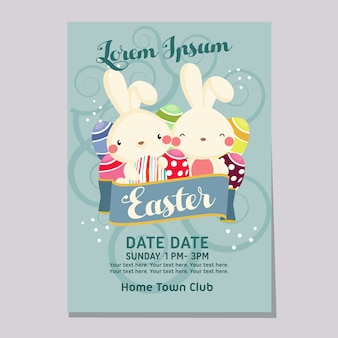 ウサギとイースターフェアウィークポスターテンプレート