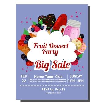 Шаблон плаката фруктовой вечеринки с вкусной едой