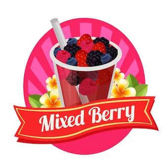 Смешанный ягодный ярлык свежий напиток