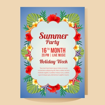 熱帯のテーマのハイビスカスのベクトル図と夏の休日パーティーポスターテンプレート