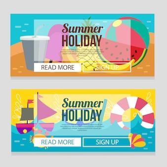 Симпатичные летние каникулы баннер шаблон с фруктами тропической темой векторная иллюстрация