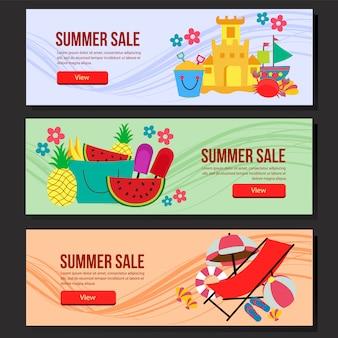 Летняя распродажа баннер шаблон набор плоский стиль векторные иллюстрации