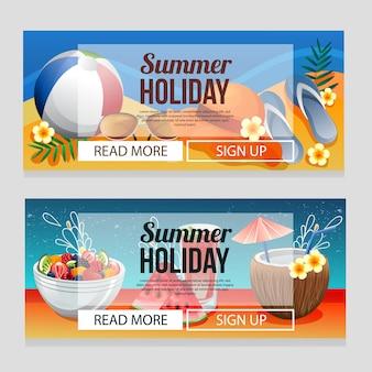 夏の飲み物のベクトル図とカラフルな夏の休日バナーテンプレート