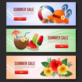 Красочная летняя распродажа баннер шаблон веб летом напиток векторные иллюстрации