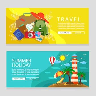 夏の休日バナーテンプレート旅行と灯台テーマフラットスタイルのベクトル図