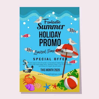 プロモーション夏休み海洋フラットスタイルポスターベクトルイラスト