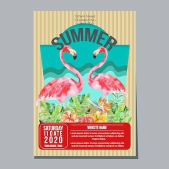夏の休日ポスターテンプレート熱帯のフラミンゴの水彩ベクトル図