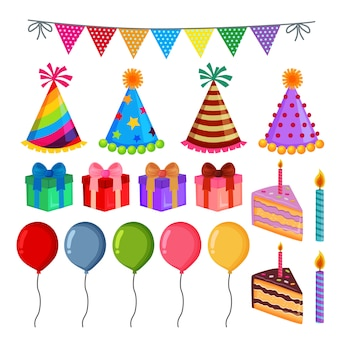 かわいい誕生日パーティー要素セットのコレクション