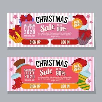 Рождественский горизонтальный баннер шаблон продажи подарочной коробке плоский стиль