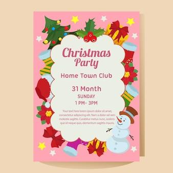 Рождественская вечеринка постер с пуансеттия снеговика