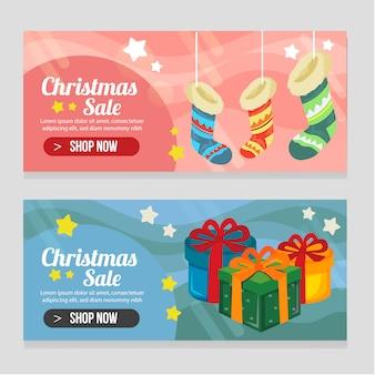 Яркий двух баннерный рождественский шаблон с украшенными носками