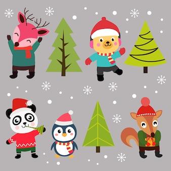 クリスマス要素の幸せなキャラクターセット