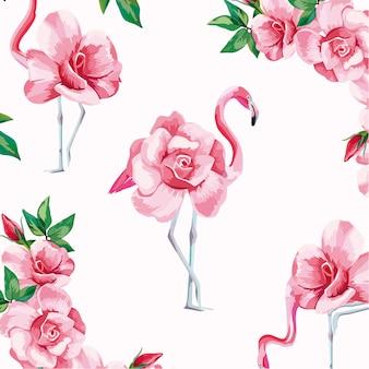 動物花柄シームレスパターン背景ベクトル
