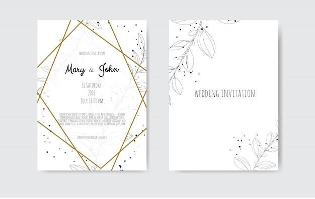 手作りの花の要素を持つベクトルの招待状。花の要素を持つ結婚式の招待カード