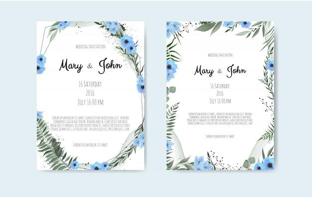 花バラ、葉と幾何学的なフレームを持つカードのセットです。